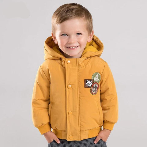 Autumn winter baby boys cotton clothing hooded  zipper children outerwear kids coat