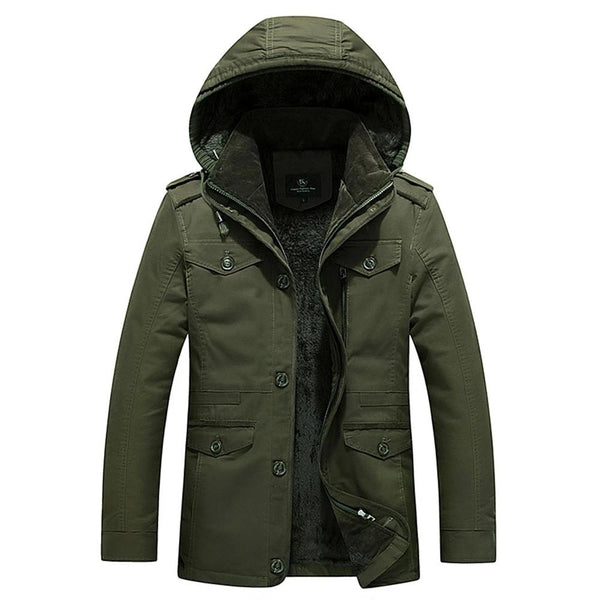 Autumn Winter Fur Collar Parka Men Casual Slim Fit Hood Jackets Mens Coat Cotton Windbreak Outwear Coat men