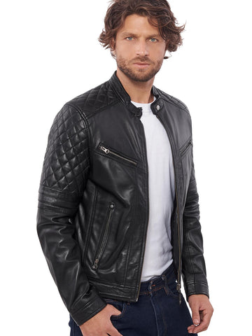 European Brand Men's  Leather jacket for men Winter Real sheep leather jacket Motorcycle jackets Biker jackets  Bravo