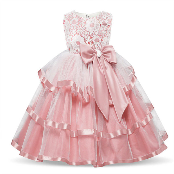 Elegant Flower Girl Long Evening Dress Baby Girl Christening Gown Children's Princess Costume For Teen Girl Wedding Party Dress