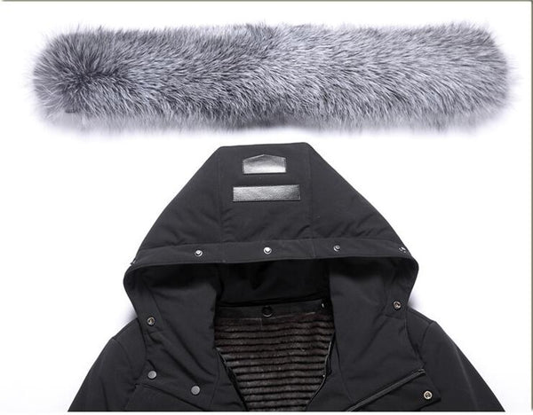 New Men's White Duck Down Winter Jacket Rabbit fur Lining winter coat men Silver fox fur collar Thick coat male