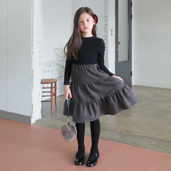 Girls Dresses New Autumn & Winter Fashion Kids Plaid Dress Elastic Knit Top Patchwork Wool Baby Princess Dress Party,