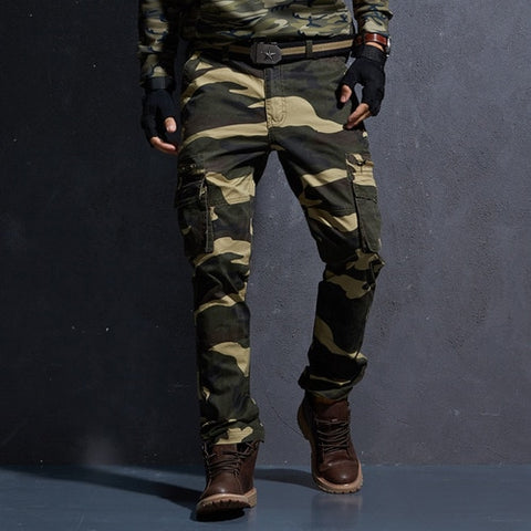 New Cotton Cargo Pants Men Military Style Tactical Workout Straight Men Trousers Casual Camouflage Man Pants