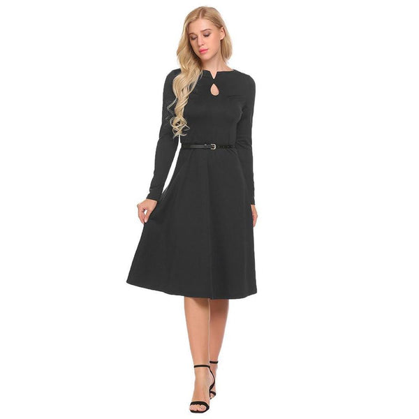 Dress women new autumn women's fairy dress long sleeve round neck large swing dress clothes streetwear