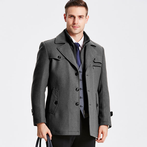 New Winter Wool Coat Slim Fit Jackets Mens Casual Warm Outerwear Jacket and coat Men Pea Coat Size M-5XL