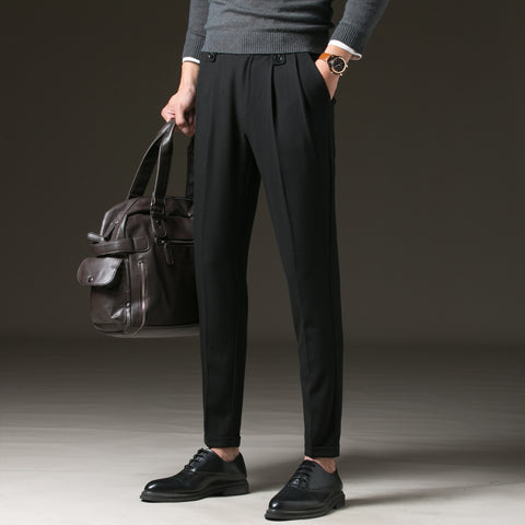 Brand Dress Pants Men Casual Long Trousers Male Cotton Straight Gray Pant Men's Autumn Large Size