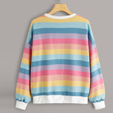 Free Ostrich Women Striped Sweatshirts Pullover O Neck Long Sleeve Casual Warm Tops Sweatshirt Hoodie