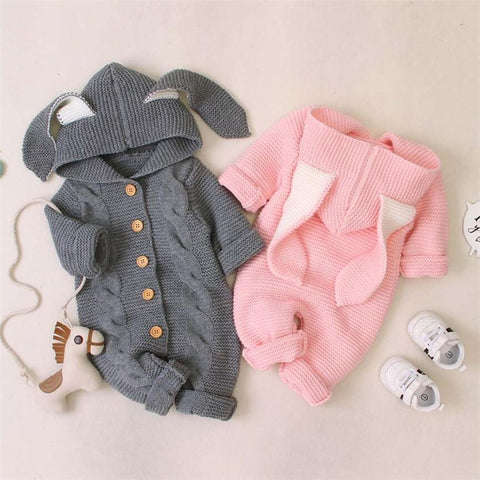 Baby Romper Autumn Winter Knitted Baby Clothes Newborn Hooded Rabbit Ear Baby Boy Romper Cotton Baby Jumpsuit Baby Girl Romper