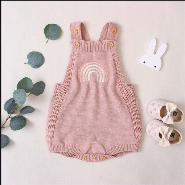 Baby Romper Newborn Knitted Baby Clothes Autumn Winter Rainbow Sleeveless Baby Girl Romper Cotton Baby Jumpsuit Boy Romper