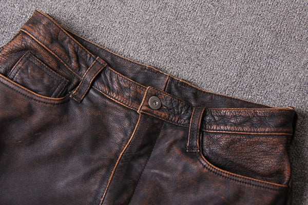 Luxury 100% Real Leather Motorcycle Biker Pants Multi Pockets Vintage Safari Long Pants Leather Punk Trousers Plus Size