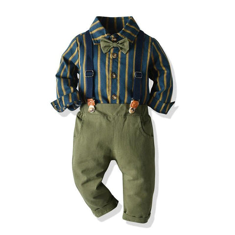Top and Top Autumn Boys Clothing Set Long Sleeve Striped Bow Shirt Tops+Suspender Trousers Baby Kid Formal Gentleman Suit