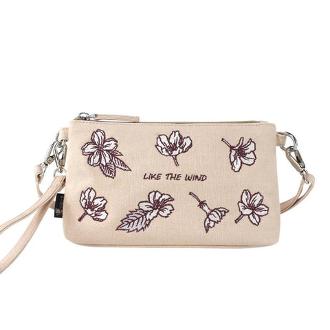 Canvas Embroidery Girl Crossbody bag Summer Women Small Handbag Fashion Lady Shoulder Bag Women's Clutch Bag