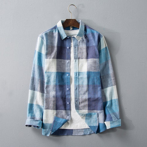 Linen Shirts Men Fashion Casual Small Fresh Long Sleeve Slim Fit Plaid Shirt Male Autumn New Brand Clothes