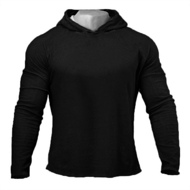 T-Shirt Men Autumn Fitness Long Sleeve Hooded T Shirt Men Plain Gym Clothing Slim Fit Cotton Tee Tops