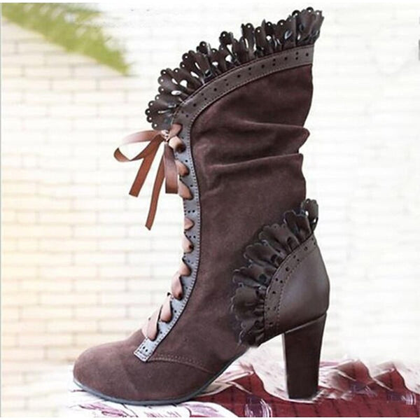 Women's Mid Calf Boots Ladies Lace Up High Heels Female Sexy Shoes Woman Ruffle Flock Retro Boots Women Elegant Footwear