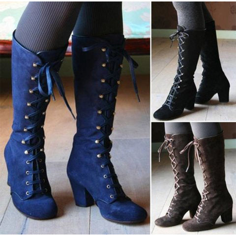 New Women Platform Thigh High Boots Ladies Lace Up Square High Heel Mid Calf Boots Female Flock Ride Long Boots Plus Size Shoes