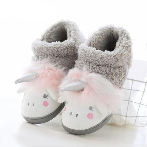 Funny Faux Fur Unicorn Indoor Floor Shoes New Women Winter Warm Plush Slippers Soft Platform Ladies Cotton-padded Shoes