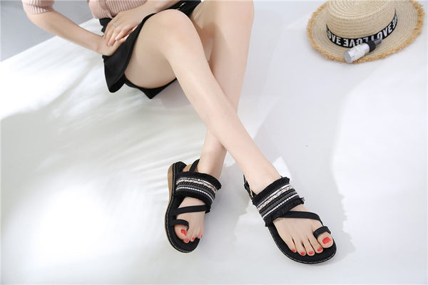 New summer shoes woman buckle casual sandals women flat with female shoes big size comfortable
