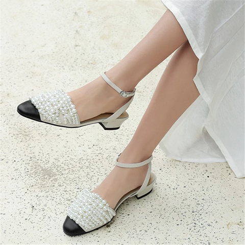 New summer shoes woman pointed toe shallow buckle genuine leather shoes string bead sandals women