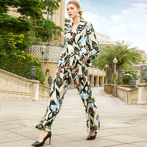 Double breasted print coats and elastic high waist loose wide leg long pants 2 piece pants suits new women spring suits
