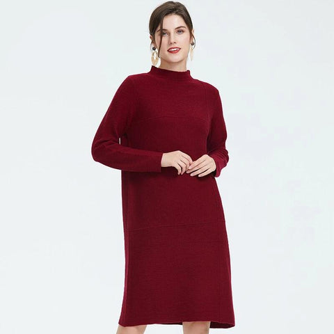 Autumn new arrival dress women top red color dress elegant high quality women's clothing loose fashion style