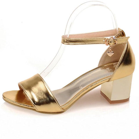 Women shoes high heels round toe with buckle square heels golden silvery shoes ladies shoes