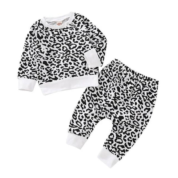Infant girl outfits Leopard baby clothes set toddler girl long sleeve top cotton baby boy clothes 0-24M winter baby clothing