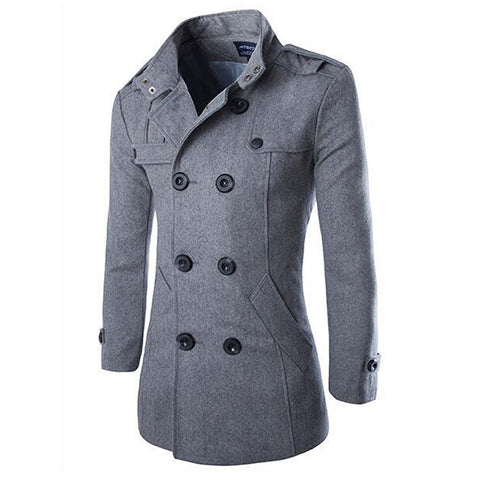Double-breasted Wool Trench Coat Men Winter New Casual Long Jacket and Coat Black Gray Woolen Trench for Male