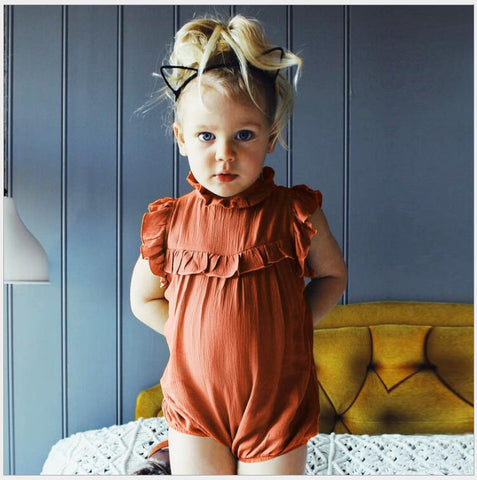 Summer Baby Girl Romper newborn baby Solid ruffles cotton  jumpsuits Overalls Infant Clothing for first birthday party