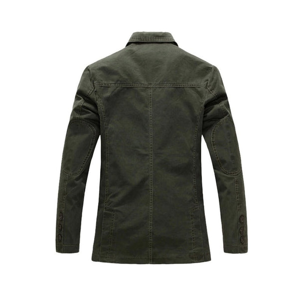 Men Casual Blazer Military Jacket 100% Cotton Spring Autumn Suits Jackets Black Khaki Army Green Blazers Single Breasted