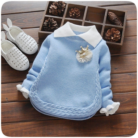 children sweater autumn winter warm girls knitted turn-down collar sweaters baby outwear