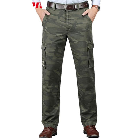 Overalls trousers men Multi-pocket Straight Loose Casual trousers camouflage cargo pants men Military pants Green Khaki