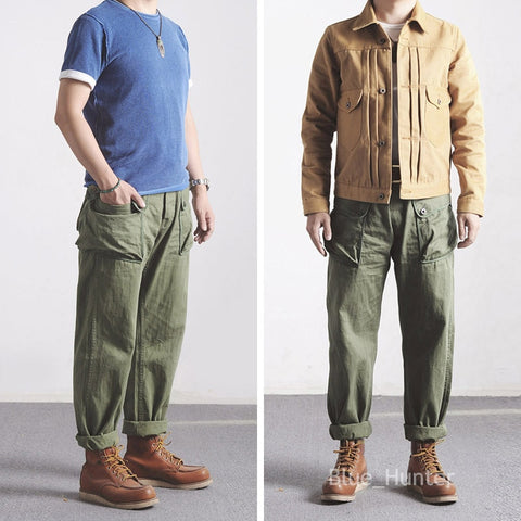 Red Wind Vintage P-44 Military Trousers Men's Workwear Pants Army Green Relaxed Fit