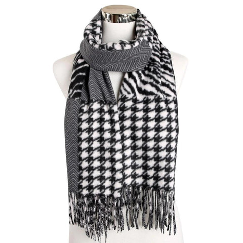 Winter Muffler Wave Zebra Houndstooth Patchwork Scarf Cashmere Shawl Wraps Mens Women Pashminas
