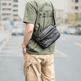 Men's one-shoulder slanted bag, men's head leather slant edvald bag, retro casual workwear men's bag