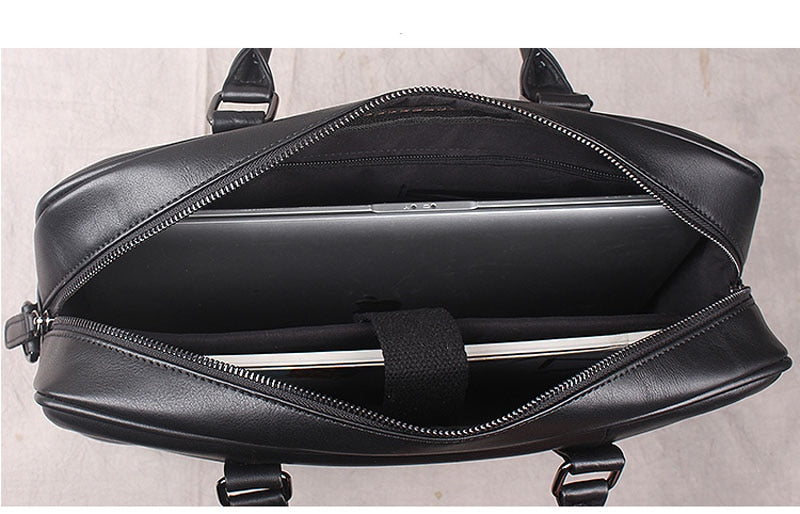 Handbag men's leather casual business briefcase first layer shoulder slung large capacity computer bag cross