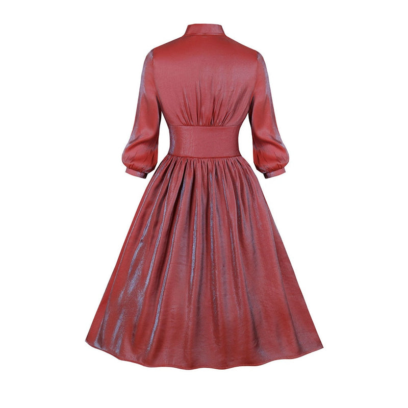 Autumn New Elegant Pearlescent Deep V- Neck Swing Female Retro Dresses Red Gothic A-line Dresses Vintage Party Dresses