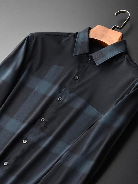 Men Shirts Luxury Silk Fabrics Business Leisure Grid Mens Dress Shirt Plus Size 4xl Mens Shirts Casual