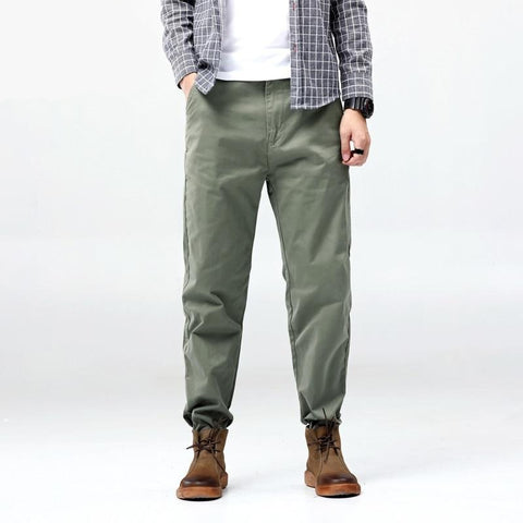 Casual Pants Men Cotton Slim Fit Green Trousers Male Brand Clothing Plus Large Size