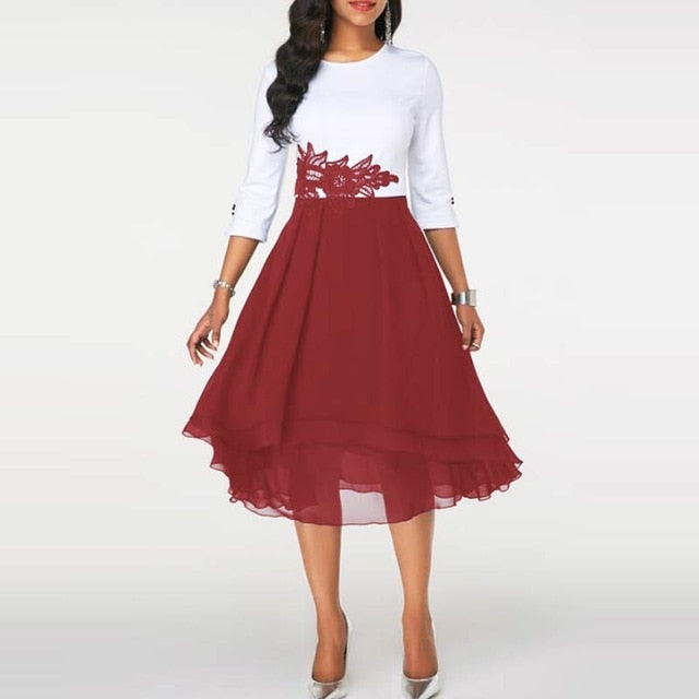 Autumn Three Quarter Sleeves Office Work Dress Women A-Line Knee-Length Casual Patchwork Lace Elegant Vestidos Party