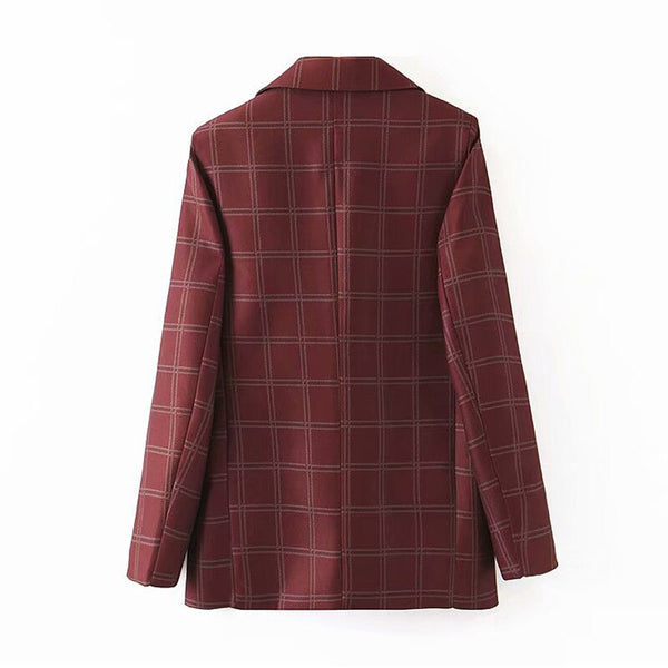 Vintage Double Breasted Blazer Women Plaid Coat Winter Warm Office Ladies Suit Coats Outwear Long Sleeve Female Clothes