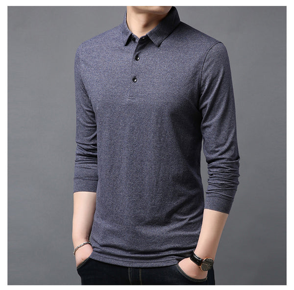 5-color Lapel Long-sleeved T-shirt Men Autumn New Business Fashion Cotton Casual Bottoming Shirt Male Brand Clothes