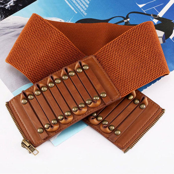 New Ladies Retro Brown Overcoat Decorative Leather Belts for Women Fashion Design Waistband Belt 8.0cm Width