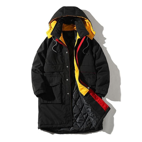 Winter long Windproof coat cotton jacket Hoodies clothing Fake two-piece stitching coats warm thick Parker coat