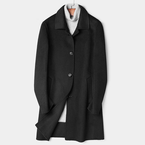 Male Long Fund Lapel Two-sided Buddhist Nun Overcoat Man Wool Heavy Woolen Cloth Windbreaker Nothing Cashmere Loose Coat