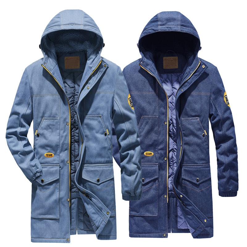 New Long parka man coat thicken winter jacket for men fashion brand denim jacket men's jeans jacket plus size 4XL