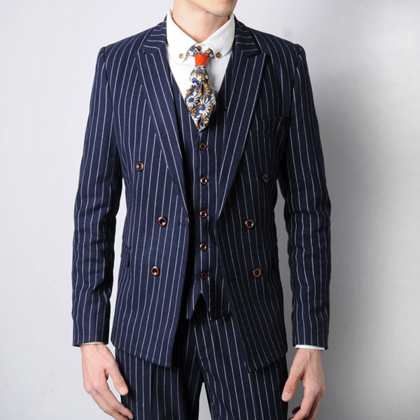 3942117f5383c JOHNKART.COM.  112.54 USD. Free shipping new arrival studio apparel vintage  england style striped suit men double-breasted wedding ...