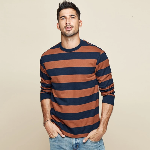 Autumn Cotton Striped Blue T Shirt Men Tshirt Brand T-shirt Long Sleeve Tee Shirt Male Fashion Clothes New Top