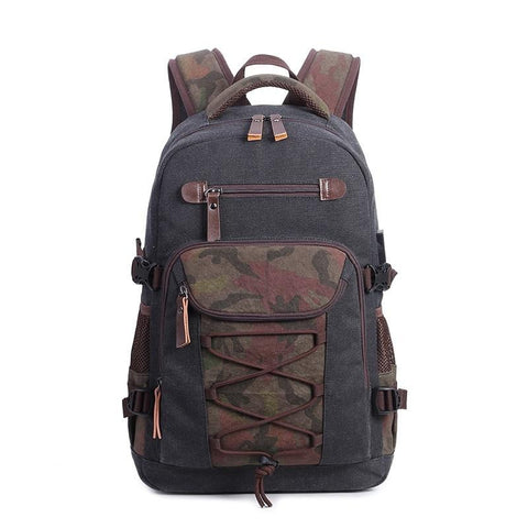student vintage drawstring canvas backpack school bags for teenage boys men travel laptop backpack 15.6