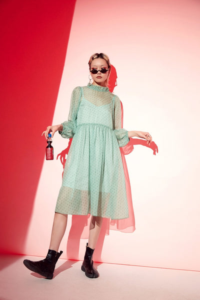 A-Line Dot Mint Women Dresses Summer Casual Female Holiday Dress Fashion Lace up Sexy Hollow Out Woman Party Dress